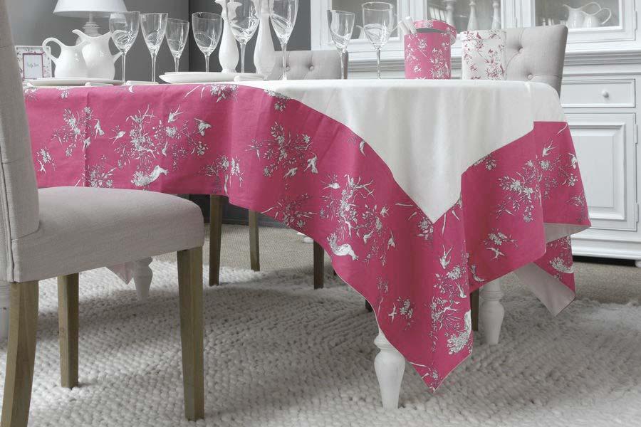 nappe en coton et lin 260x160 rose interior 39 s. Black Bedroom Furniture Sets. Home Design Ideas