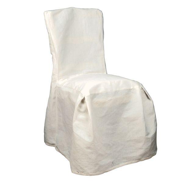 Housse de chaise en coton et lin h92 beige interior 39 s - Housse de chaise coton ...