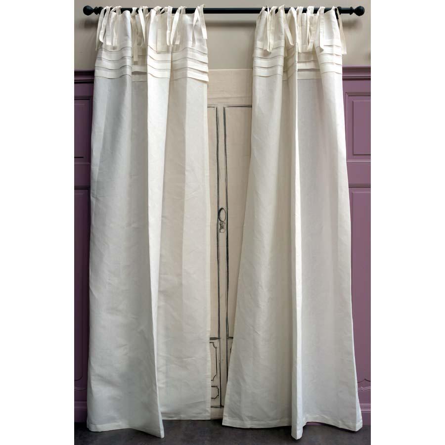 rideaux en coton et lin 140x270 lot de 2 blanc interior 39 s. Black Bedroom Furniture Sets. Home Design Ideas