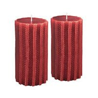 Bougies rouges motif tricot (lot de 2)