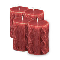 Bougies rouges motif tricot (lot de 4)