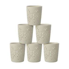 Photophores en porcelaine blancs (lot de 6)
