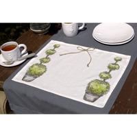 Set de table en coton et lin 45x35 vert interior 39 s - Set de table en lin ...