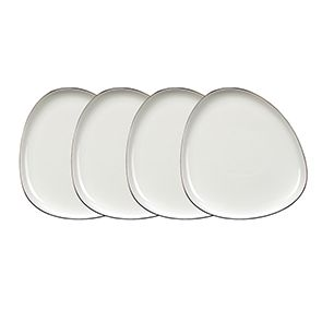 Assiettes plates blanches en porcelaine d26 cm (lot de 4)