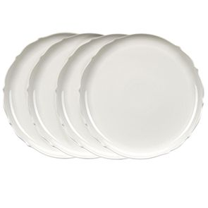 Assiettes plates blanches en porcelaine (lot de 4)