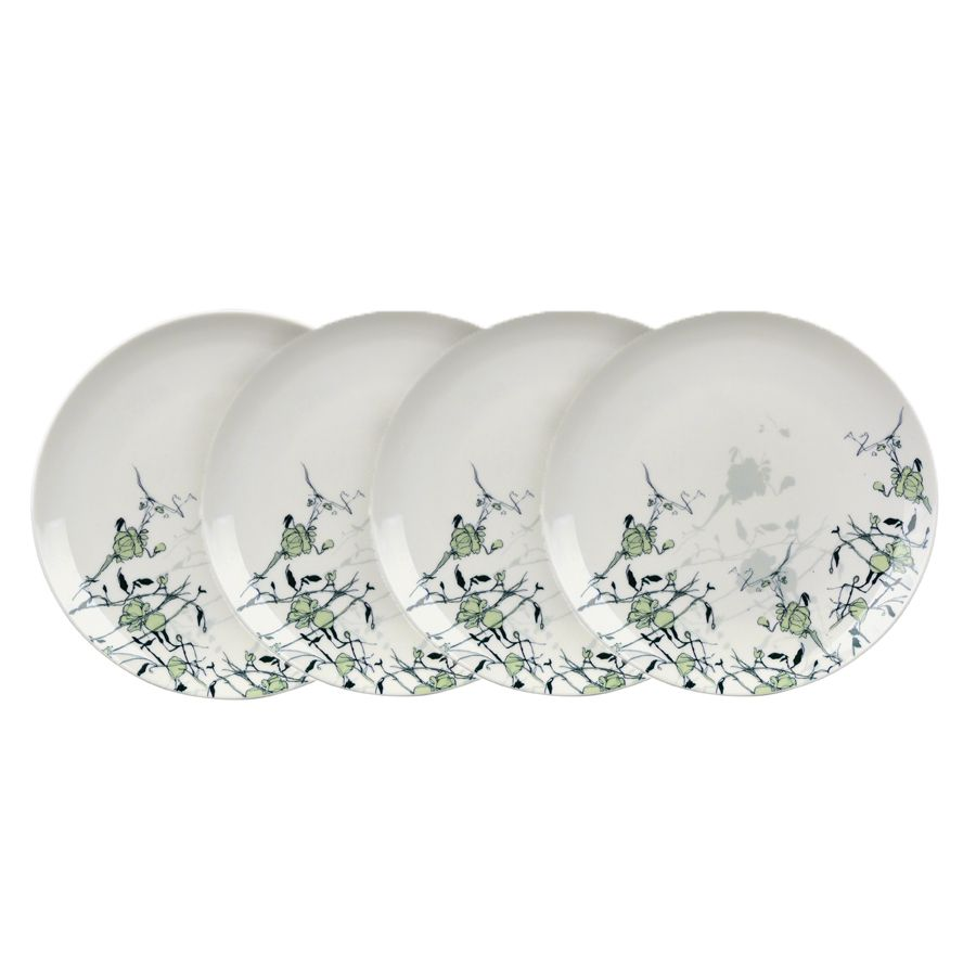 Assiettes plates en porcelaine lot de 4 vert interior 39 s for Decoration jardin d eden