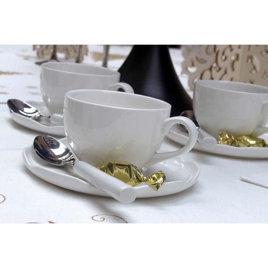 tasses en porcelaine lot de 4 blanc interior 39 s. Black Bedroom Furniture Sets. Home Design Ideas