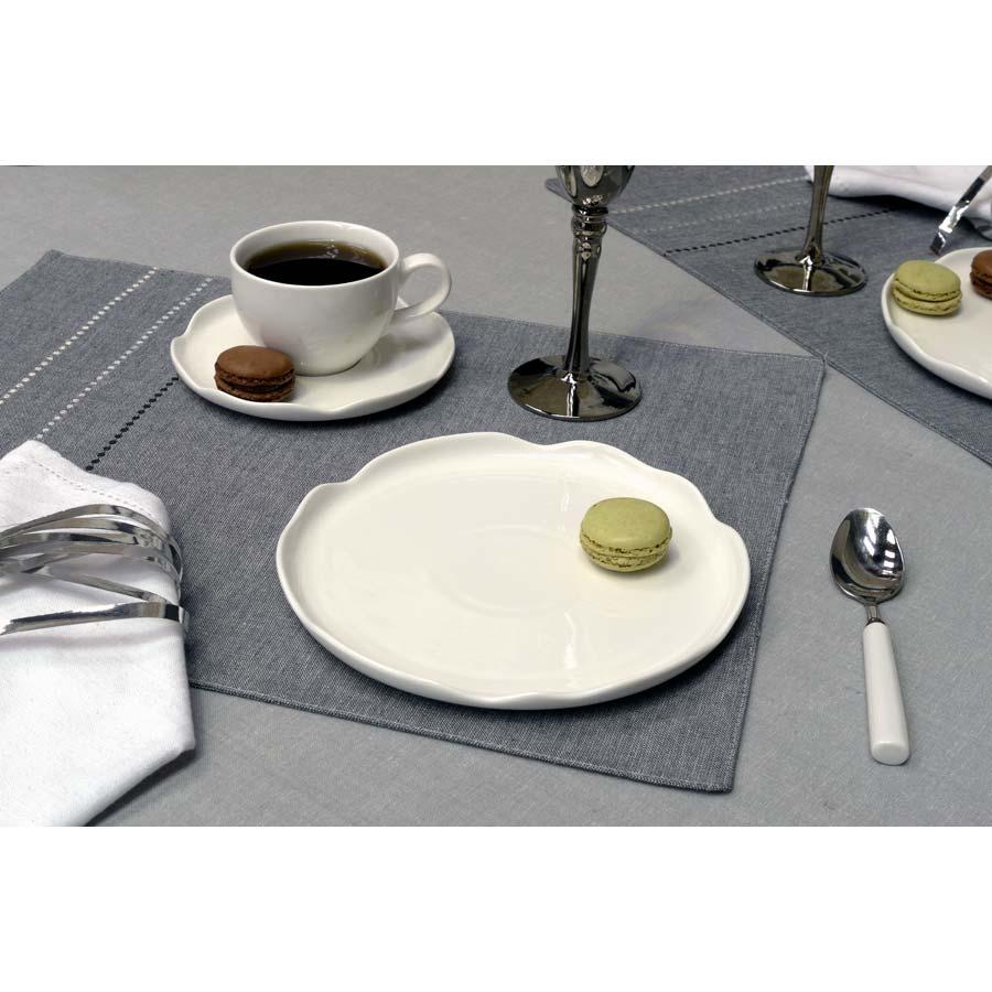 Assiettes dessert en porcelaine lot de 4 blanc - Decoration assiette dessert ...