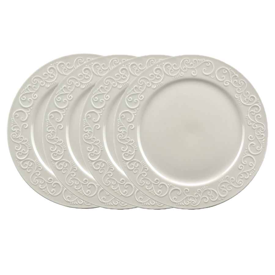 assiettes plates en porcelaine lot de 4 blanc interior 39 s. Black Bedroom Furniture Sets. Home Design Ideas