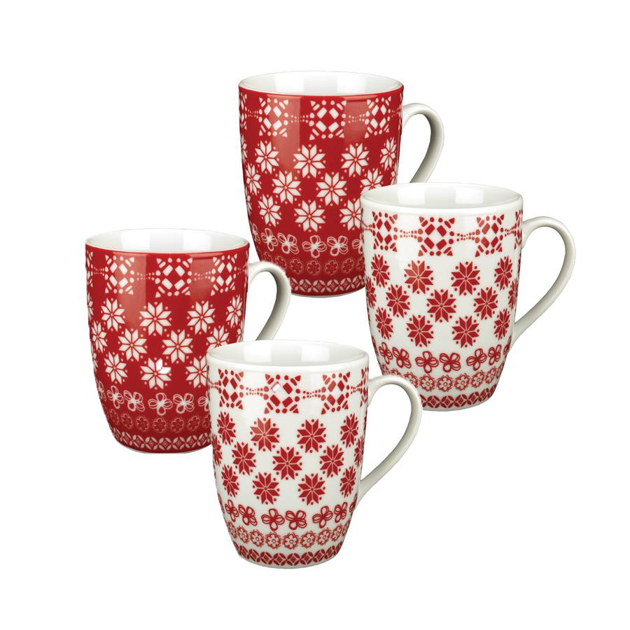 mugs en porcelaine lot de 4 rouge interior 39 s. Black Bedroom Furniture Sets. Home Design Ideas