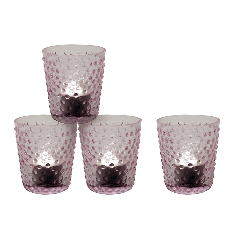 Photophores en verre rose (lot de 4)