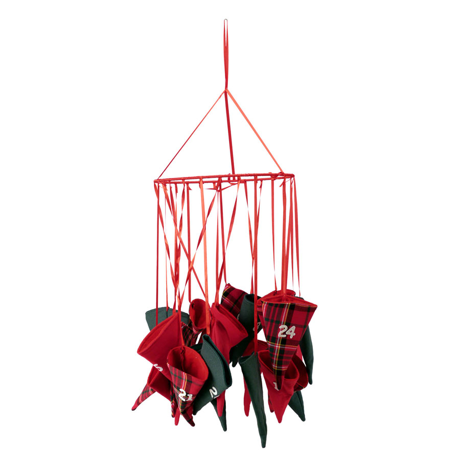 calendrier de l 39 avent en tissu rouge interior 39 s. Black Bedroom Furniture Sets. Home Design Ideas