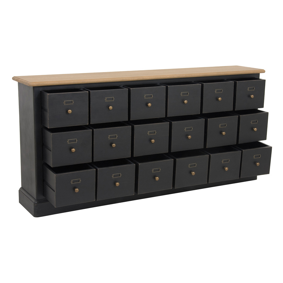 meuble de m tier 18 tiroirs noir interior 39 s. Black Bedroom Furniture Sets. Home Design Ideas