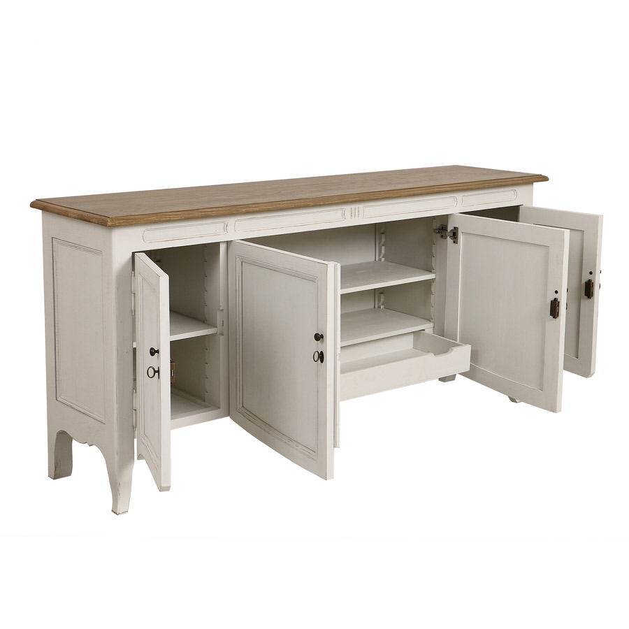 buffet bas 4 portes 1 tiroir blanc interior 39 s. Black Bedroom Furniture Sets. Home Design Ideas