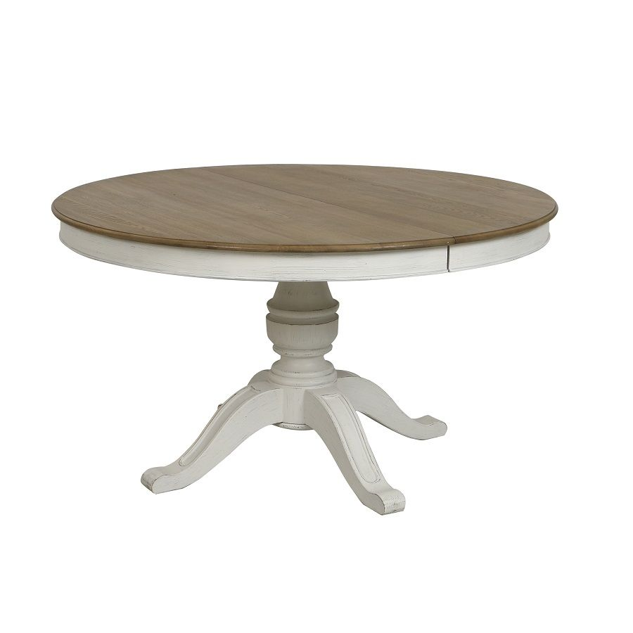 Table Ronde Extensible Blanc Vieilli Pour 6 A 10 Personnes Manoir Tables Interior S